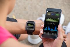 Female Runner Looking At Her Mobile And Smart Watch Heart Rate Monitor Kuvituskuvat