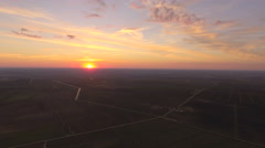 Sunset in the countryside.Aerial view Stock Footage