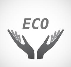 Isolated hands offering icon with    the text ECO Stock Illustration