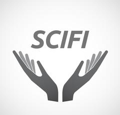 Isolated hands offering icon with    the text SCIFI Stock Illustration