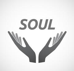 Isolated hands offering icon with    the text SOUL Stock Illustration