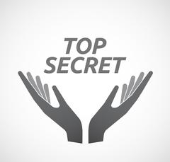 Isolated hands offering icon with    the text TOP SECRET Stock Illustration