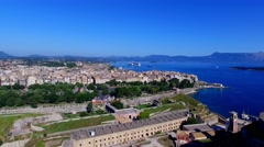 Old city Kerkyra Corfu castle island, Greece aerial 4k video. Sea ocean coast Stock Footage