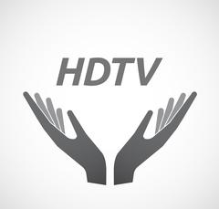 Isolated hands offering icon with    the text HDTV Stock Illustration