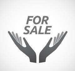 Isolated hands offering icon with    the text FOR SALE Stock Illustration