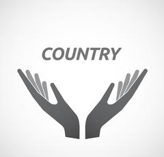 Isolated hands offering icon with    the text COUNTRY Stock Illustration
