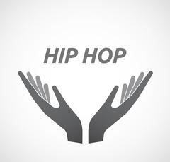 Isolated hands offering icon with    the text HIP HOP Stock Illustration