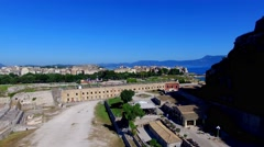 Old Fortress Kerkyra Corfu castle island Greece aerial 4k video. Sea ocean coast Stock Footage