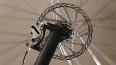 Hydraulic system, bicycle brake disc Stock Footage