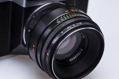 Closeup of old retro film camera lens Stock Photos