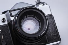 Closeup of old retro film camera lens Stock Photos