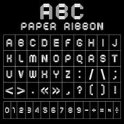 ABC font from paper tape, gray with black background Stock Illustration