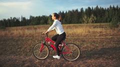 Sport. Mountain Bike cyclist riding single track Stock Footage