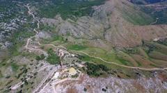 Mount Pantokrator Corfu mountain Greece aerial 4k video. Communications station Stock Footage