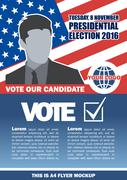 Usa 2016 election a4 flyer mockup with country map, vote checkbox and male ca Stock Illustration