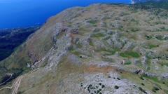 Mount Pantokrator Corfu mountain Greece aerial 4k video terrain sea coast Stock Footage