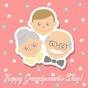 Grandmother and the grandfather with his grandson. Congratulations inscription Stock Illustration