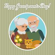 Happy senior man woman family with cat. Vector illustration. Greeting card for Stock Illustration