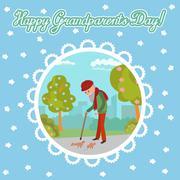 Elderly man feeding birds in the park. Greeting card for grandparents day Stock Illustration
