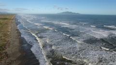 Aerial view of Kapiti coastline and Kapiti Island, New Zealand Stock Footage
