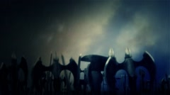 Army Waving their Swords and Axes Before a Battle or for a Victory Under Storm Stock Footage