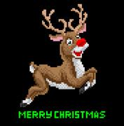 Santas Reindeer Christmas Pixel Art Stock Illustration