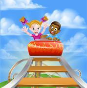Amusement Park Roller Coaster Stock Illustration