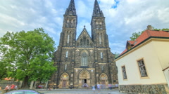 Neo-Gothic Saint Peter and Paul Cathedral timelapse hyperlapse in Vysehrad Stock Footage