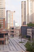Luxury yard of apartment complex in the Astana, Kazakhstan Stock Photos