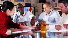 4K Attractive diverse marketing team in a meeting, discuss branding of products Stock Footage