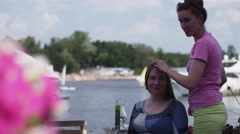 SAINT PETERSBURG, RUSSIA : Girl in pink shirt m Stock Footage