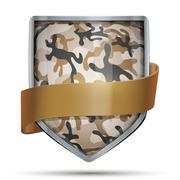 Shield with flag Camouflage Stock Illustration