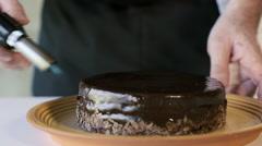 Restaurant hotel private chef preparing desert chocolate cake Stock Footage