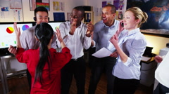 4K Happy and excited business team celebrate closing a deal Stock Footage