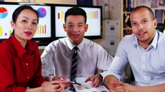 4K Attractive mixed ethnicity business team take a conference call Stock Footage