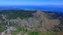 Mount Pantokrator Corfu Greece aerial 4k video. Sea strait top mountain coast Stock Footage