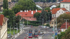 Scenic summer aerial view of the Lesser Town architecture and Charles Bridge Stock Footage