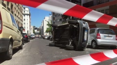 Road Closed With Police Tape After Car Crash, Zoom Out Stock Footage