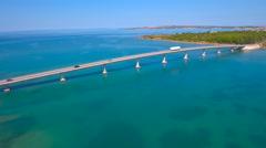 Bridge architecture over sea to Vir island aerial view 4K Stock Footage