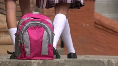 Backpack And Female Students Walking Stock Footage