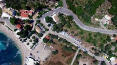 Flight Paleokastritsa bay marina Greece Corfu aerial 4k video. Ocean sea coast Stock Footage