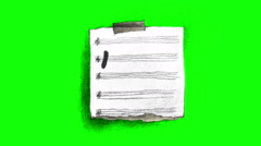 Miss You Note in retro style on green screen Stock Footage