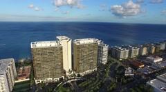 Aerial Shot of Skyscrapers on the Coastline of Atlantic Ocean Stock Footage