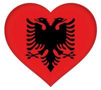 Flag of Albania Heart Stock Illustration