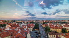 Scenic summer aerial view of the Old Town pier architecture and Charles Bridge Stock Footage