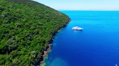 Tropical Ionian Greece island 4k travel video. Boat blue water ocean sea coast Stock Footage