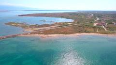 Aerial panorama view with bridge and sea around islands 4K Stock Footage