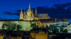 Evening view of Prague Castle and Lesser Town timelapse, Czech Republic Stock Footage