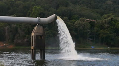Water supply pipe and dam, slow motion Stock Footage