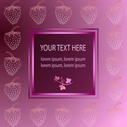 Rose frame with strawberry Stock Illustration